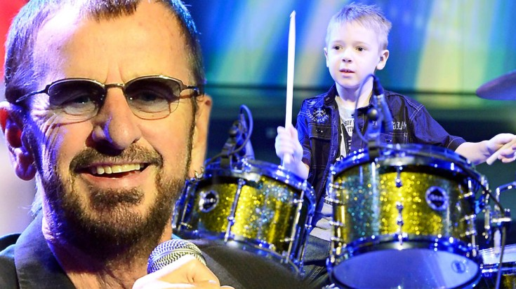 8 year old avery channels his inner ringo starr for this cover of the end society of rock. Black Bedroom Furniture Sets. Home Design Ideas