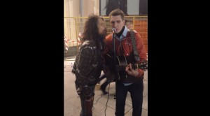 Steven Tyler Surprises Moscow Street Performer- What A Treat!