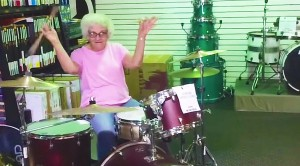 Grandma Jumps On Drums- She Must Have Played In A Rock n Roll Band Before