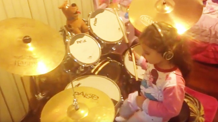 """This 4-Year-Old Girl SLAYS Pink Floyd's """"Hey You"""" On The Drums 