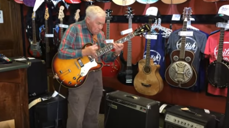 80 yr old Grandpa Picks Up Guitar- Stuns The Entire Shop   Society Of Rock Videos