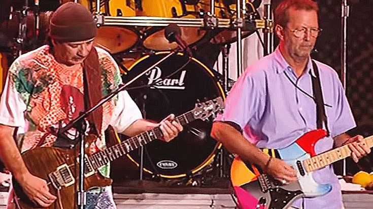 """Guitar Heroes Carlos Santana And Eric Clapton Tear It UP In Unbelievable Performance Of """"Jin-Go-Lo-Ba""""   Society Of Rock Videos"""