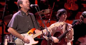 "Rock Legends Remember George Harrison With All-Star ""While My Guitar Gently Weeps"" Jam"
