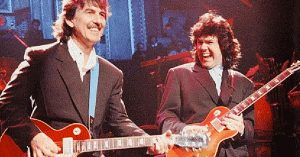 George Harrison And His Real Life Guitar Hero Gary Moore Trade Licks In Legend's Last Ever Solo Show