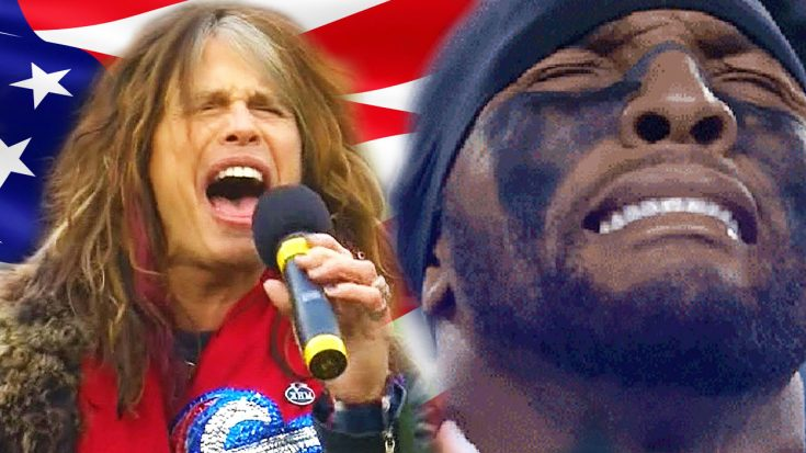 Steven Tyler Sings National Anthem— Brings This NFL Player To Tears! | Society Of Rock Videos