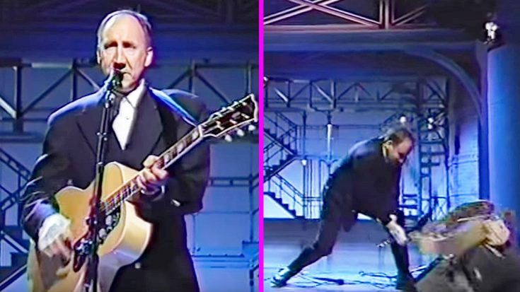 Things Get Destructive Just As Pete Townshend Finishes Playing 'Pinball Wizard' On The David Letterman Show… | Society Of Rock Videos