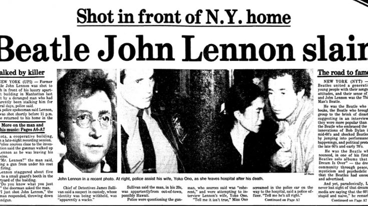 36 Years Ago Today: John Lennon Was Tragically Killed And The World Would Never Be The Same, Again… | Society Of Rock Videos