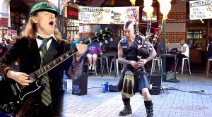 Street Performer Crushes AC/DC's 'Thunderstruck' With His Epic Set Of Bagpipes!