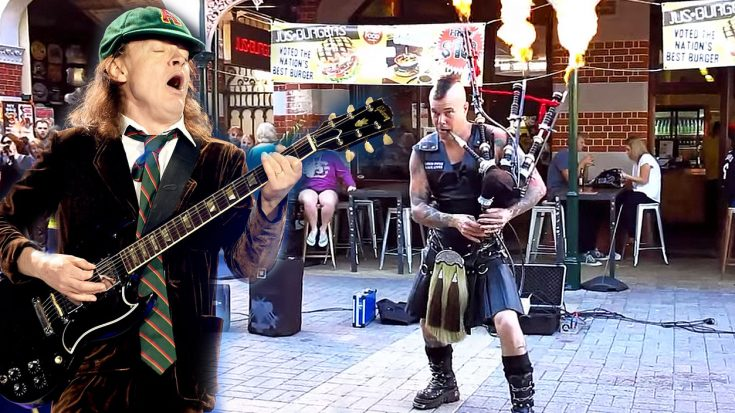 Street Performer Crushes AC/DC's 'Thunderstruck' With His Epic Set Of Bagpipes! | Society Of Rock Videos