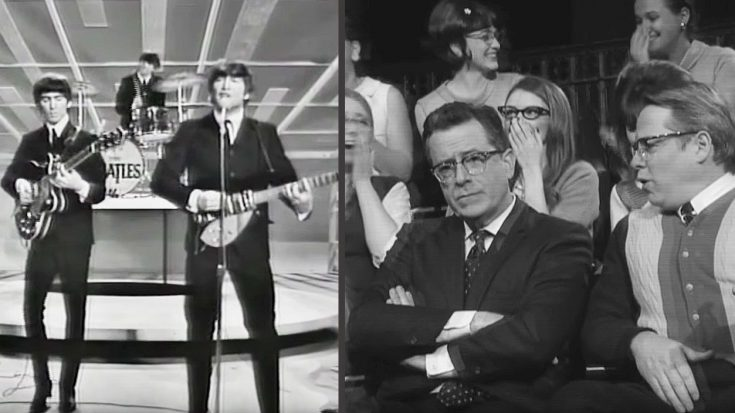 "Hilarious Video Shows Stephen Colbert ""Present"" At The Beatles' Iconic Ed Sullivan Show Appearance! 