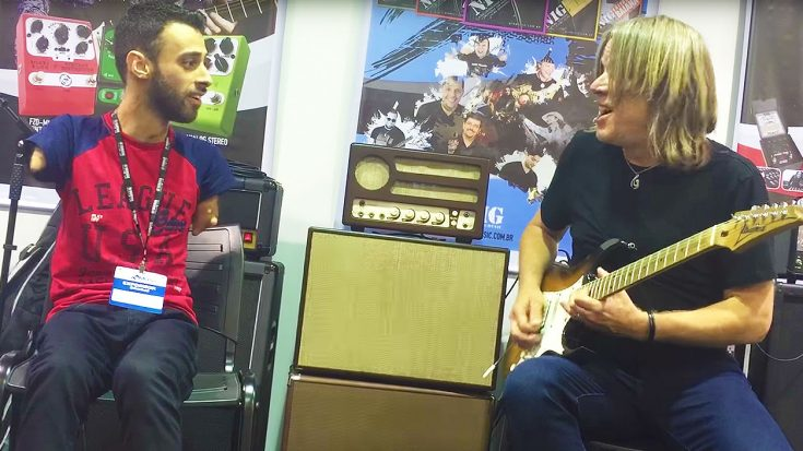Andy Timmons Jams With A Special Fan, Who Shreds A Mind-Blowing Solo With His Feet! | Society Of Rock Videos