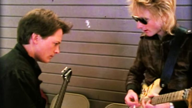 Footage Leaks of Michael J. Fox Learning Guitar Behind The Scenes While Filming 'Back To The Future!' | Society Of Rock Videos