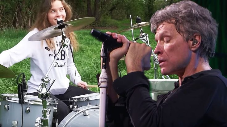 "Teenage Girl Plays An Outdoor Drum Cover Of ""Living On A Prayer"" That Is Just Wicked Good! 