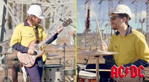 """Two """"Electricians"""" Play 77 AC/DC Songs In 5 Minutes In The Middle Of An Electrical Grid!"""