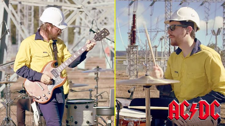 "Two ""Electricians"" Play 77 AC/DC Songs In 5 Minutes In The Middle Of An Electrical Grid! 