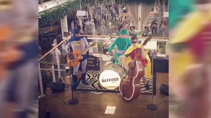"""Anyway.. Here's A Video Of Batman, Robin, And The Riddler Playing """"Misirlou"""""""