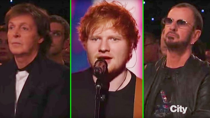 """Paul McCartney & Ringo Starr Nearly Tear Up As Ed Sheeran Flawlessly Covers """"In My Life"""" 