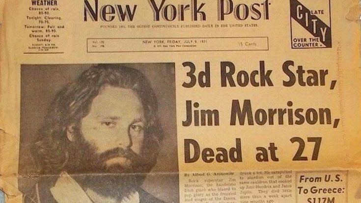 July 3, 1971: Jim Morrison Dies At 27, And The World Gets A Whole Lot Stranger Without Him | Society Of Rock Videos
