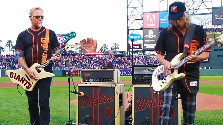Metallica Celebrate Giants' 5th Annual 'Metallica Night' By Shredding High Octane National Anthem | Society Of Rock Videos