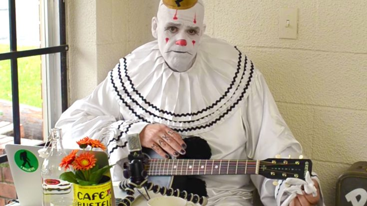 "7 Foot Depressed Clown Covers A Beatles Classic, And His Guitar Isn't Only Thing ""Weeping"" 
