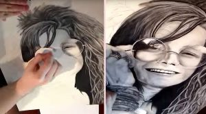 This Time-Lapse Video Janis Joplin Art Coming To Life Is The Most Addicting Thing You'll Ever See