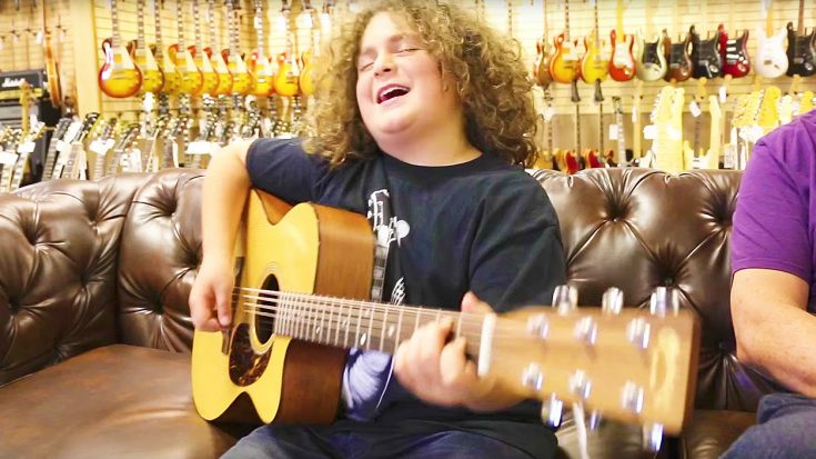 10-Year Old Guitar Prodigy Walks Into A Guitar Shop & Plays Beautiful, Acoustic Tribute To Tom Petty!