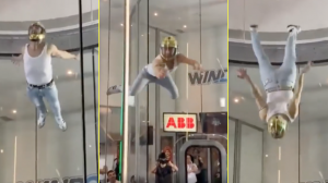 Skydiving 'Freddie Mercury' Rocks Out In 120MPH Wind Tunnel