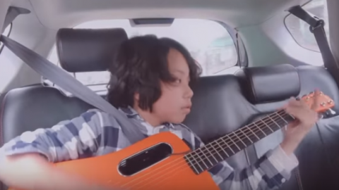"Kid Plays ""Time"" By Pink Floyd – Nails It Completely Even Inside A Moving Car 