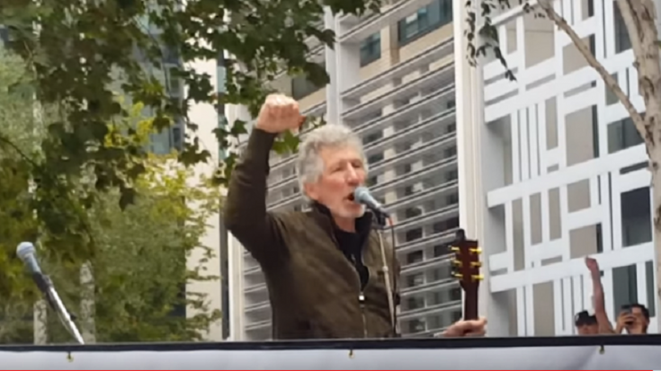 Roger Waters Performs in Rally For Julian Assange | Society Of Rock Videos