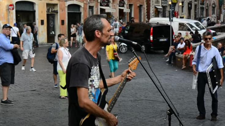 Busker In Italy Stuns Bystanders With Pink Floyd Cover   Society Of Rock Videos