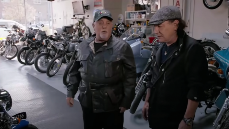 Billy Joel And Brian Johnson Take A Tour of Billy's Motorcycle Shop | Society Of Rock Videos